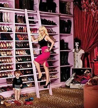 Christina Aguilera in her closet