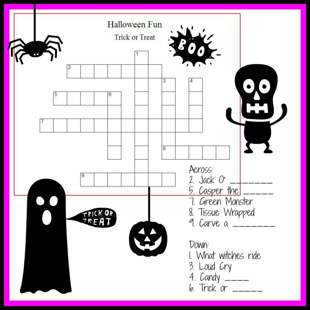 Halloween Crossword Amp Puzzles For Kids