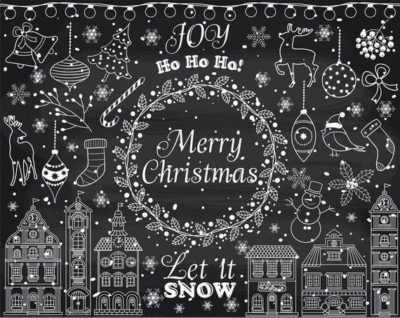 Ähnliche Artikel wie Tafel Weihnachten Clipart - Vektor Weihnachtscliparts, Weihnachten Cliparts, weiße Weihnachtscliparts, Winter Clipart, Kreide Weihnachten ClipArt auf Etsy