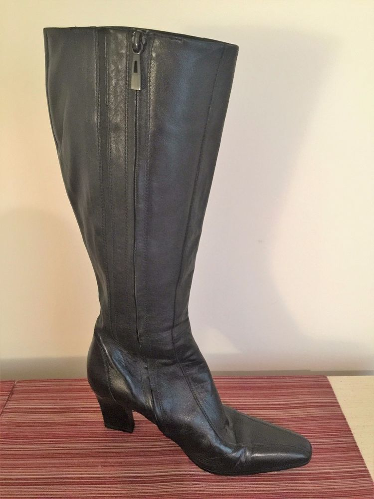 ee1ee065129 Lord   Taylor Womens Black Leather Knee High Boots