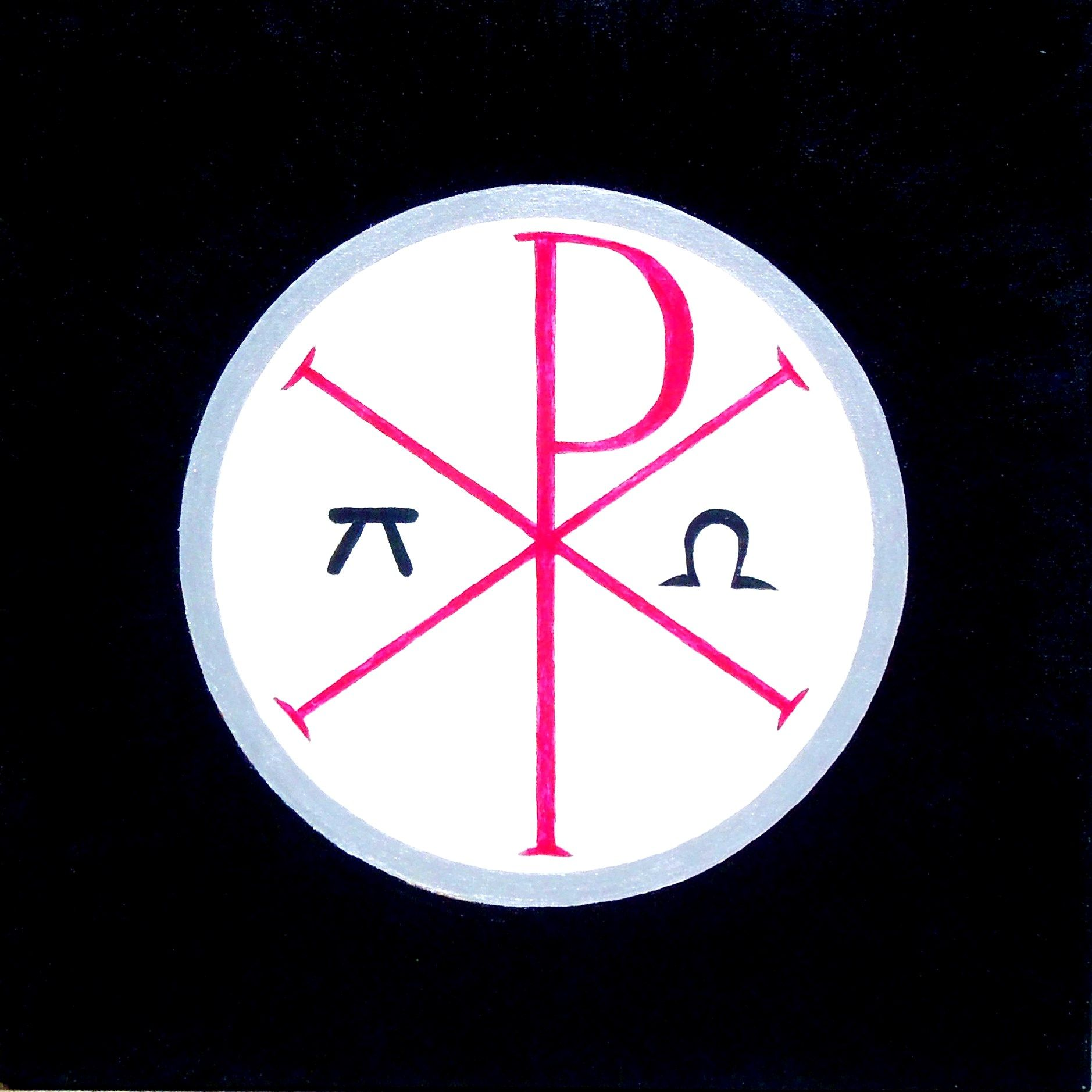 Chi Rho With Alpha And Omega In A Circle By Michael James Fry