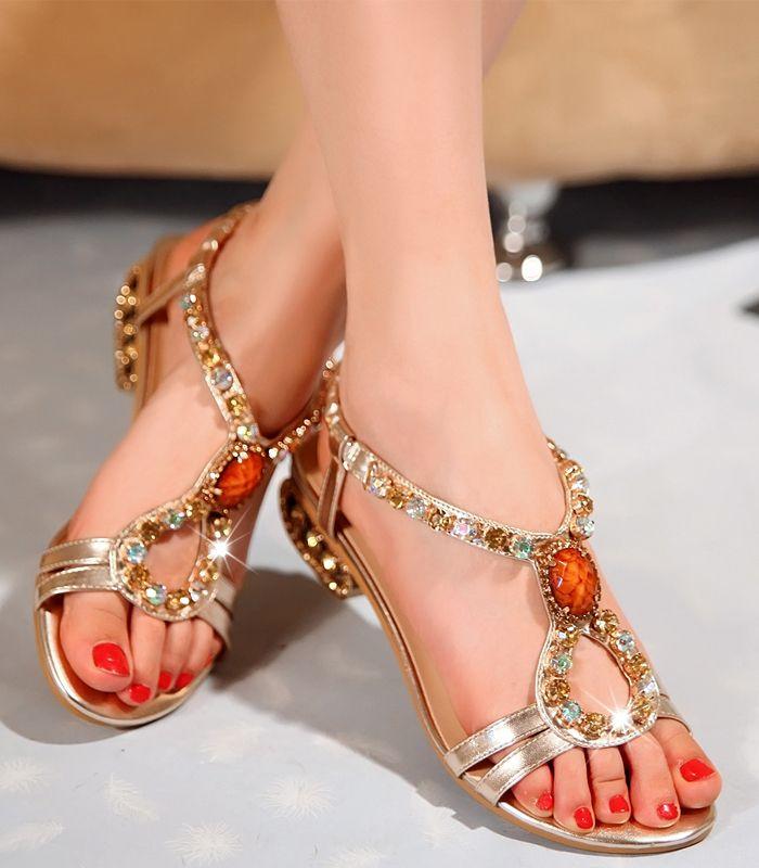 Rome Style Fantastic Rhinestones Women's Flat Sandals