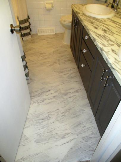 Trafficmaster Carrara Marble 12 In X 12 In Peel And Stick Vinyl Tile 30 Sq Ft Case S In 2020 Small Bathroom Remodel Small Bathroom Remodel Designs Marble Vinyl