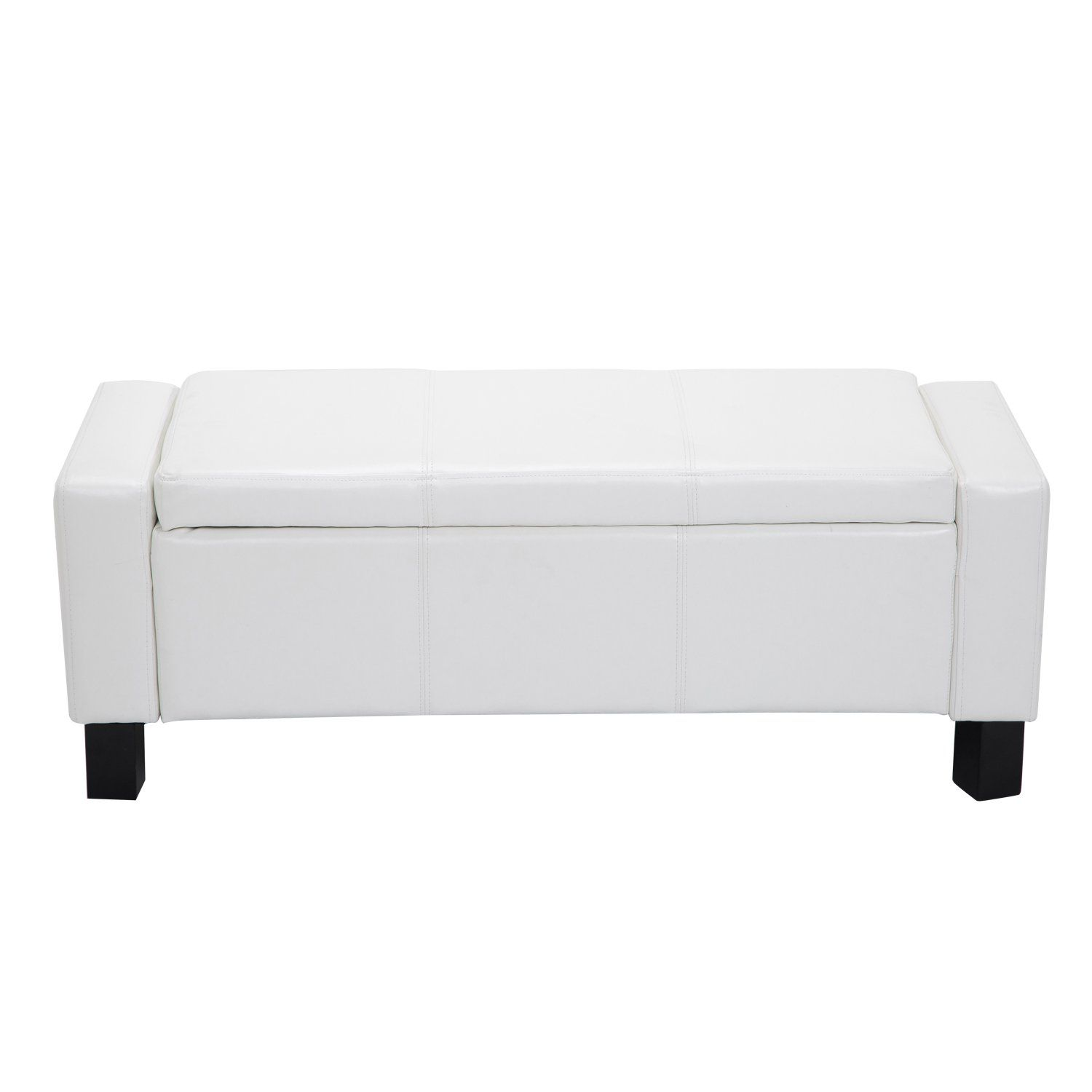 Homcom 43 Faux Leather Ottoman Storage Bench White Be Sure To Check Out This Awesome Product Storage Ottoman Bench Leather Storage Ottoman Storage Ottoman