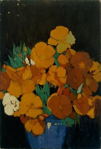 Lucia Kleinhans Mathews, California Poppies in Blue Bowl