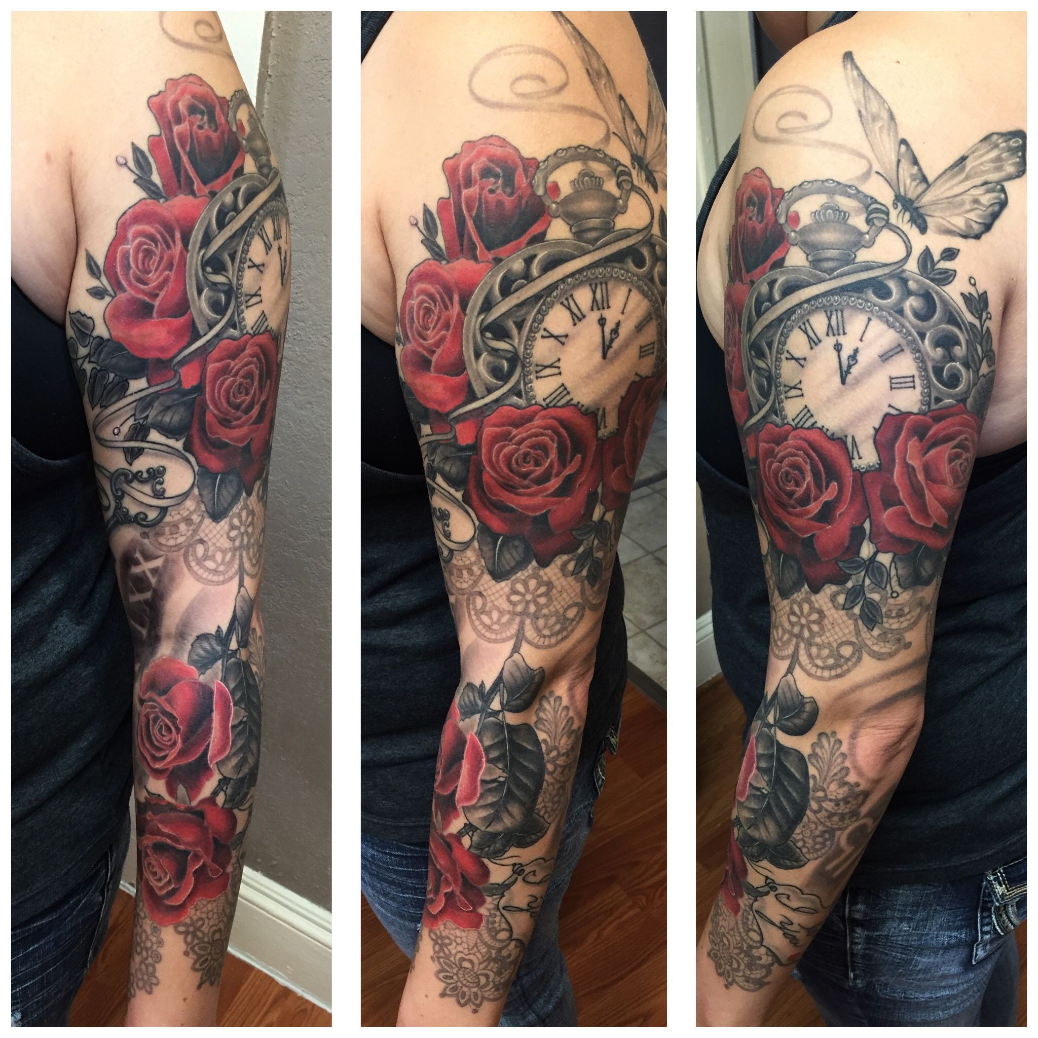 Rose Sleeve Tattoos: Pocket Watch, Butterfly, Roses, Black And Gray Tattoo
