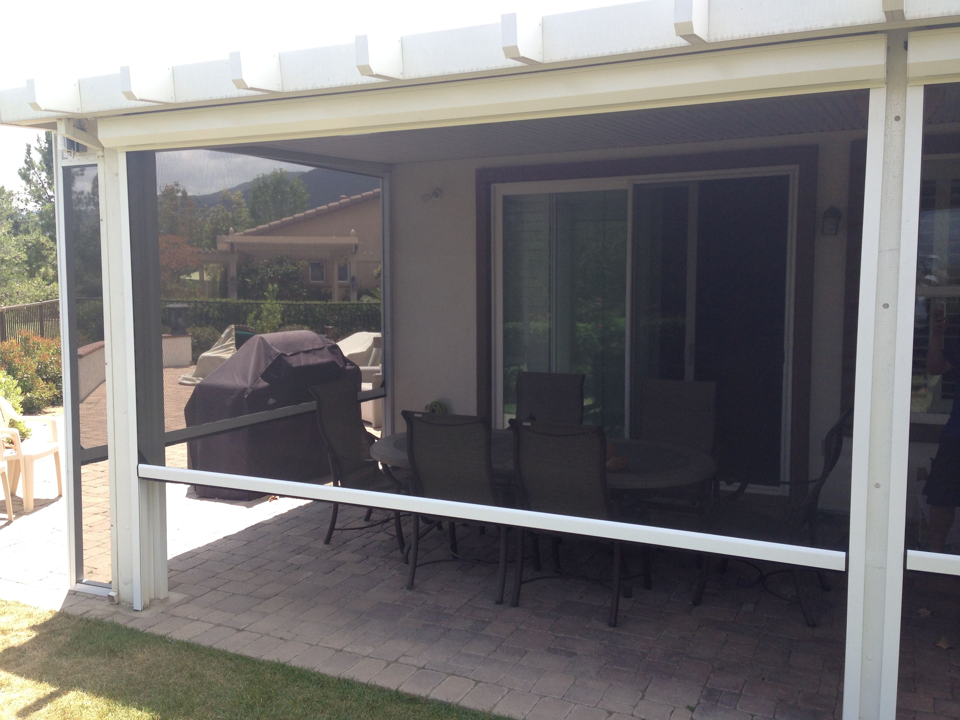 Very Nice Motorized Roll Down Enclosure Patio Screen