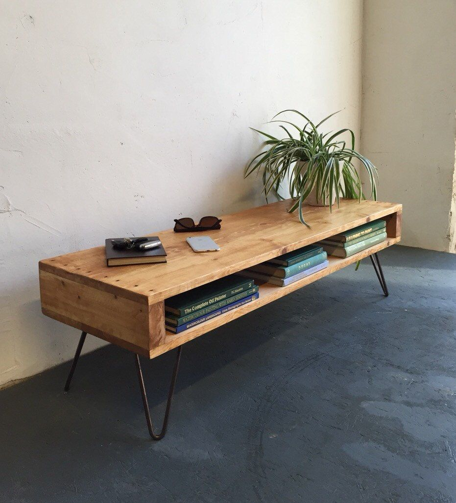 Low Large Coffee Table Wide Tv Stand Side Solid Wood On Mid Century Hairpin Legs