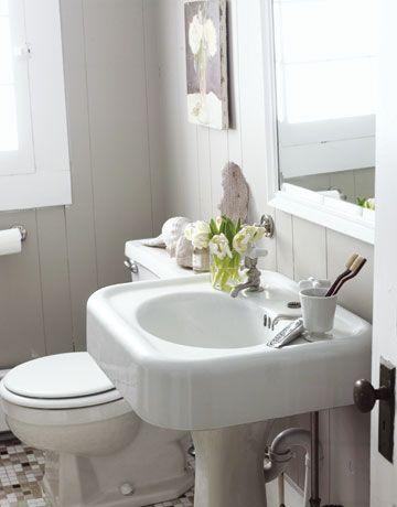 Thrifty Bathroom Redo Pinterest Pedestal Sink Sinks And Antique - Thrifty bathroom remodel