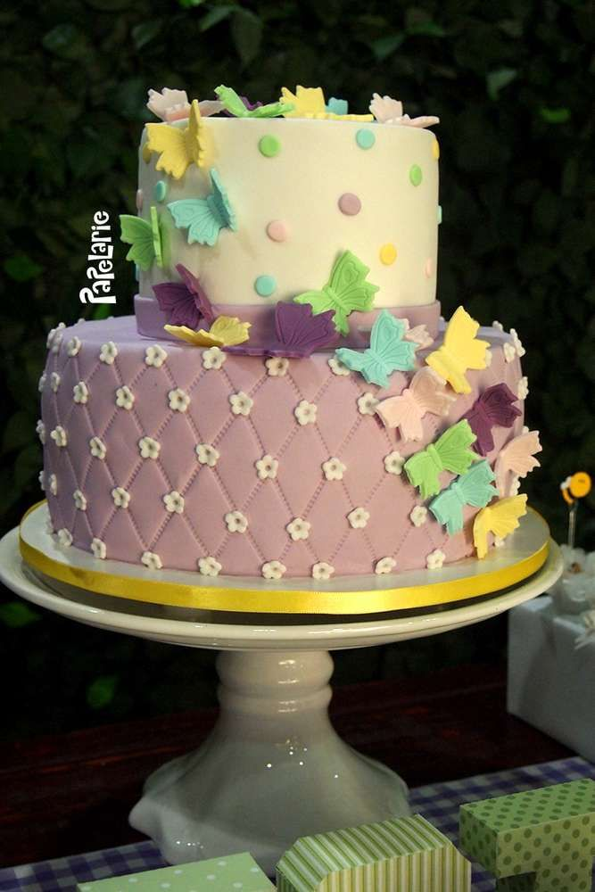 Gorgeous cake at a garden birthday party! See more party ideas at CatchMyParty.com!