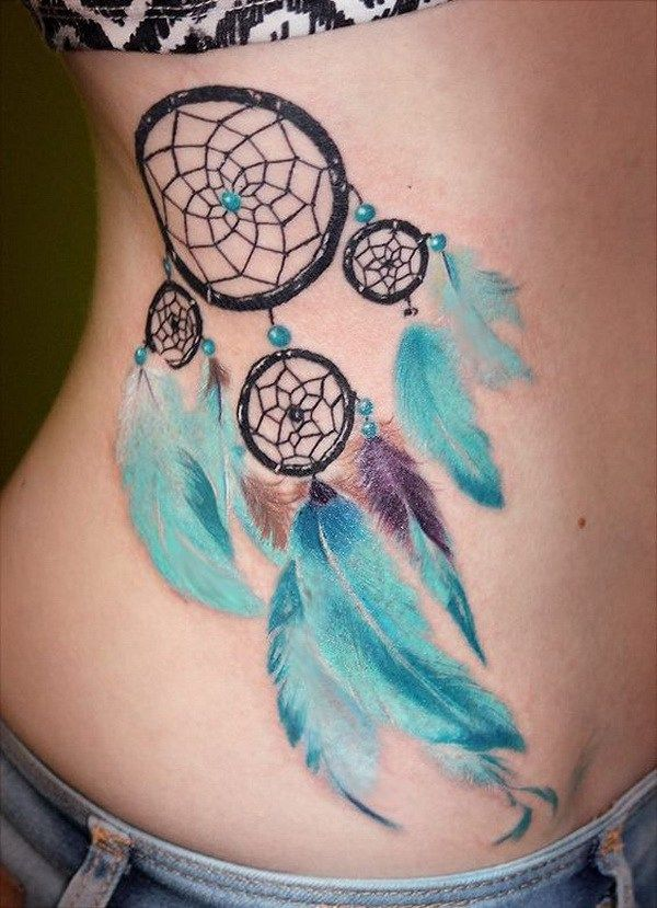 catcher design with soft blue feathers