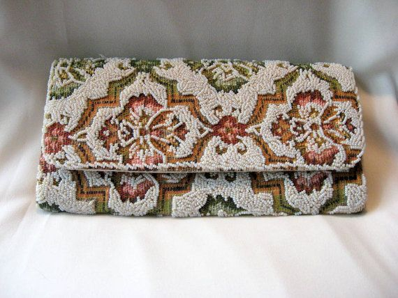 Hand Made Beaded Tapestry Clutch Bag Purse 1950s Hong Kong Vintage