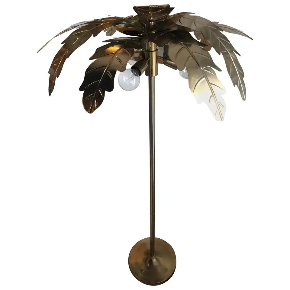 Vintage Brass Gold Metal Palm Tree Leaf Leaves Frond Floor Lamp In 2020 Tree Floor Lamp Floor Lamp Palm Tree Leaves