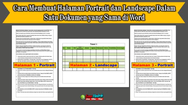 Cara Membuat Halaman Portrait Dan Landscape Dalam Satu Dokumen Yang Sama Di Word Model Pembelajaran Halaman Matematika