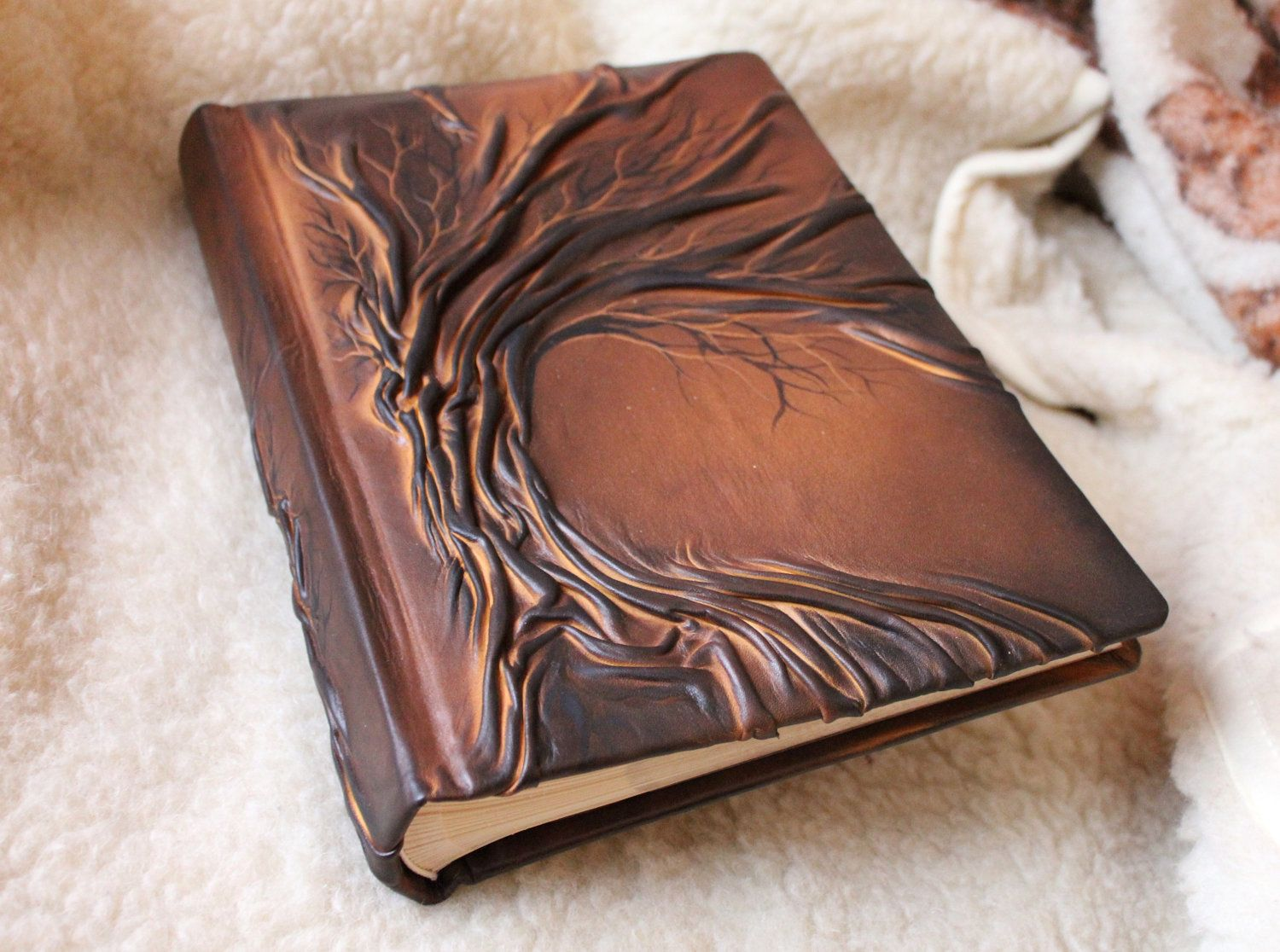 Leather Photo Album With Tree Of Life For 300 Photos Wedding Leather