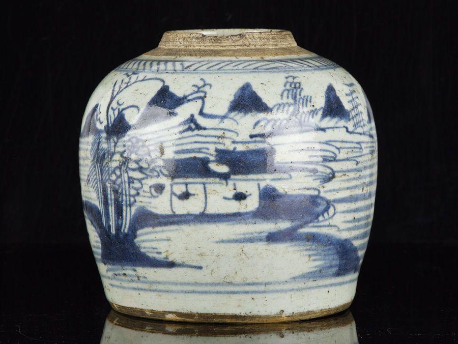 c1630 Late Ming Chinese Blue and White Stoneware Ginger Jar #Jars