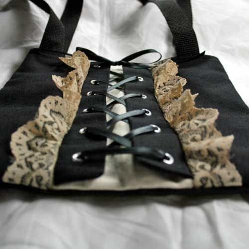 Corset Laced Tote - Free Sewing Tutorial   Pinterest   Nähe und Couture