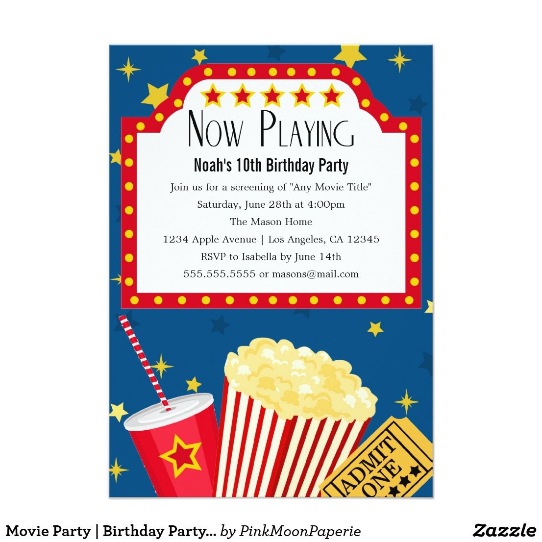 Movie Party | Birthday Party Invitation | Take me to the drive-in ...