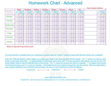 school work reward and completion chart | Free Printable Tiger Tamer ...