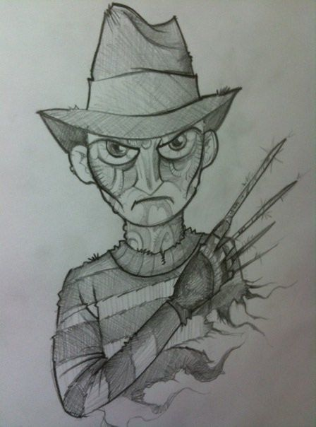 Monster Of The Day Halloween Drawings Day 9 Freddy Krueger From A