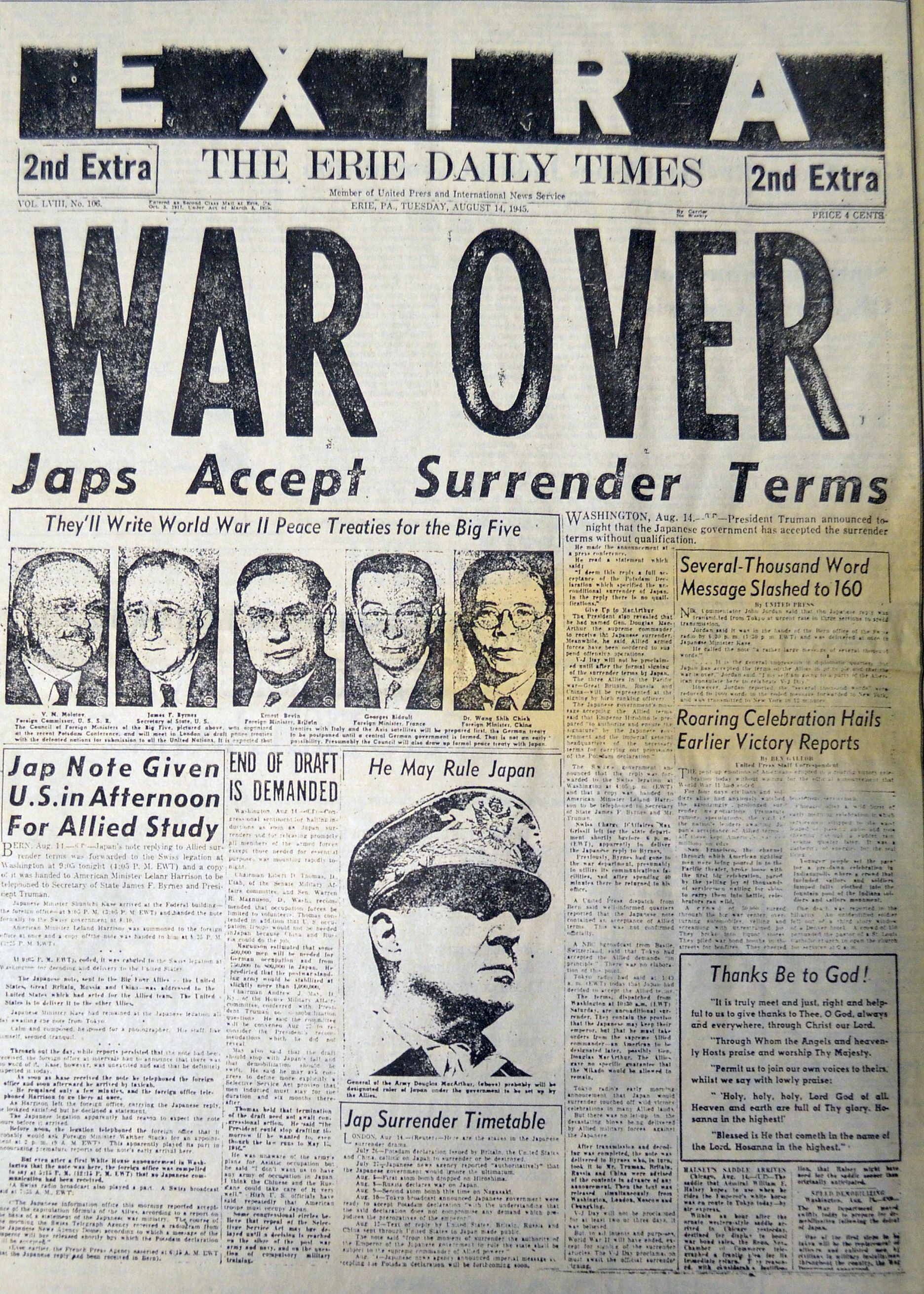 This Headline Speaks For Itself Dated August 14 1945 The Erie Daily Times Celebrates The End Of World War Ii With The Rest Of The World