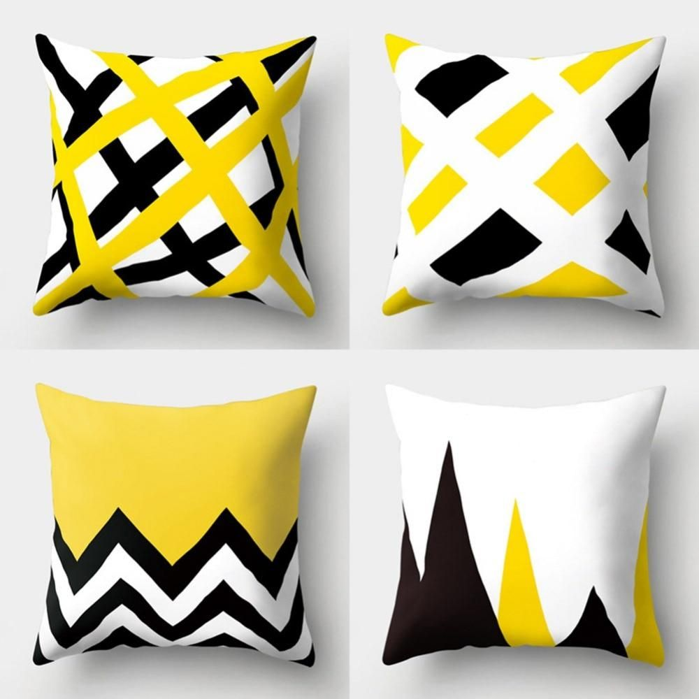 Meijuner Fashion Yellow White Geometry Printed Pattern Cotton Online Cushion Cover Decorative Pillows Cover Sofa Home Office