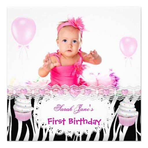Pink Black Girl Zebra Photo 1st Birthday Party Card Black girls - invitation for 1st birthday party girl