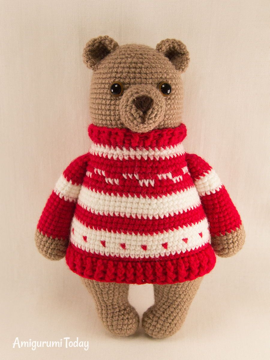 Honey teddy bears in love: crochet pattern | Crochet teddy ... | 1200x900