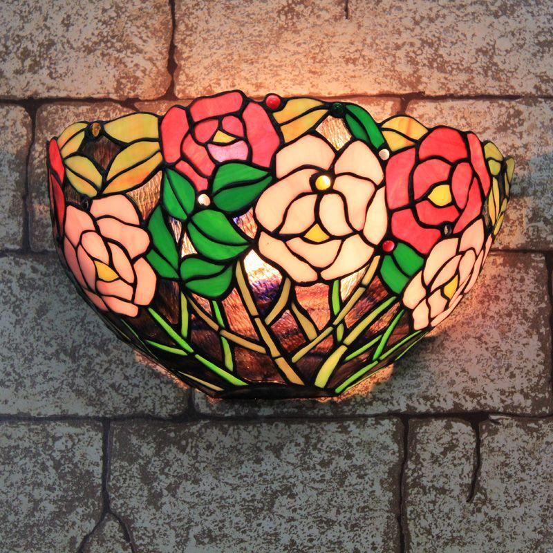 Günstige Tiffany Hängenden Glasmalerei Wandleuchte Schlafzimmer
