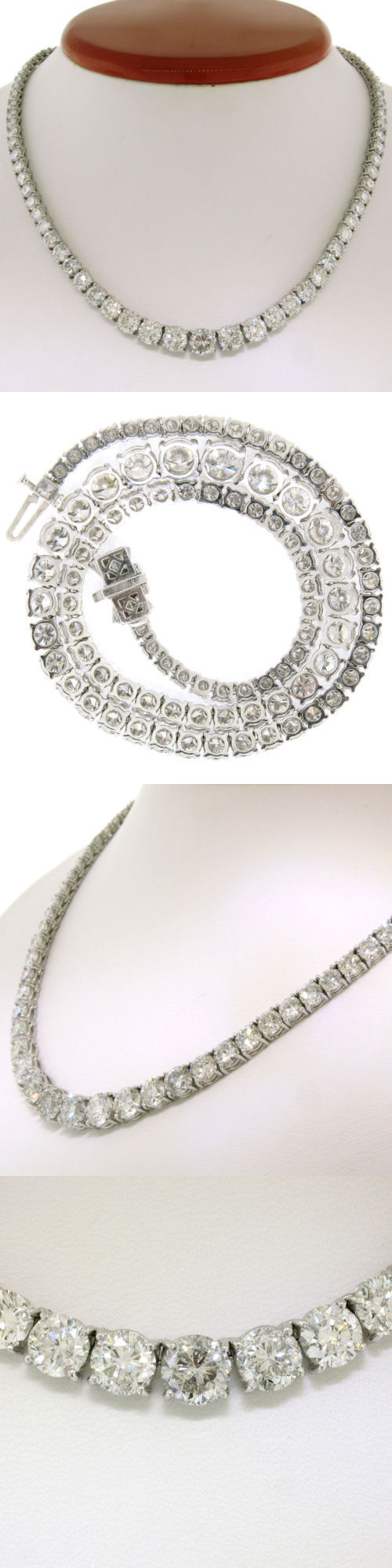 Diamond 164331: 35Ct Round D Vvs1 Diamond 14K White Gold Over Silver Graduated Tennis Necklace -> BUY IT NOW ONLY: $620 on eBay!
