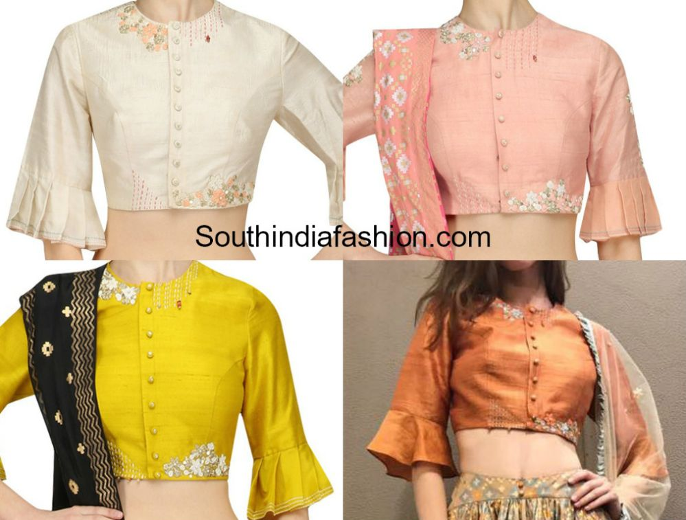 834f5c8fc39d5 Bell Sleeves and Ruffle Sleeves Blouse Designs For Sarees