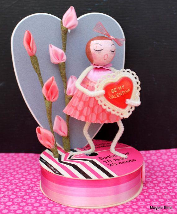 Vintage Style Valentine Girl - Spun Cotton, Be My Valentine