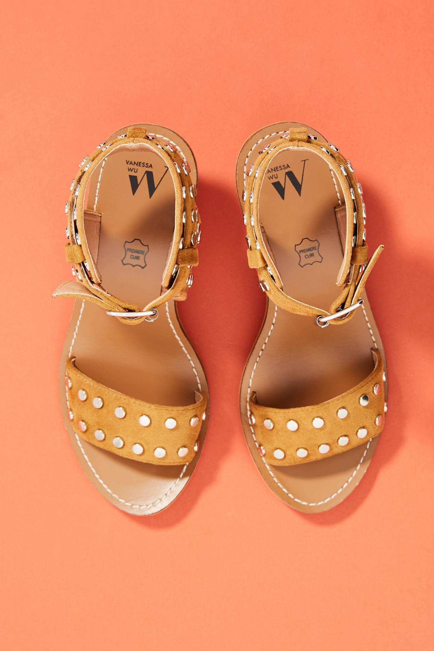 1b94f70f48 Vanessa Wu Studded Block Heeled Sandals | Shoesies. | Block heels ...