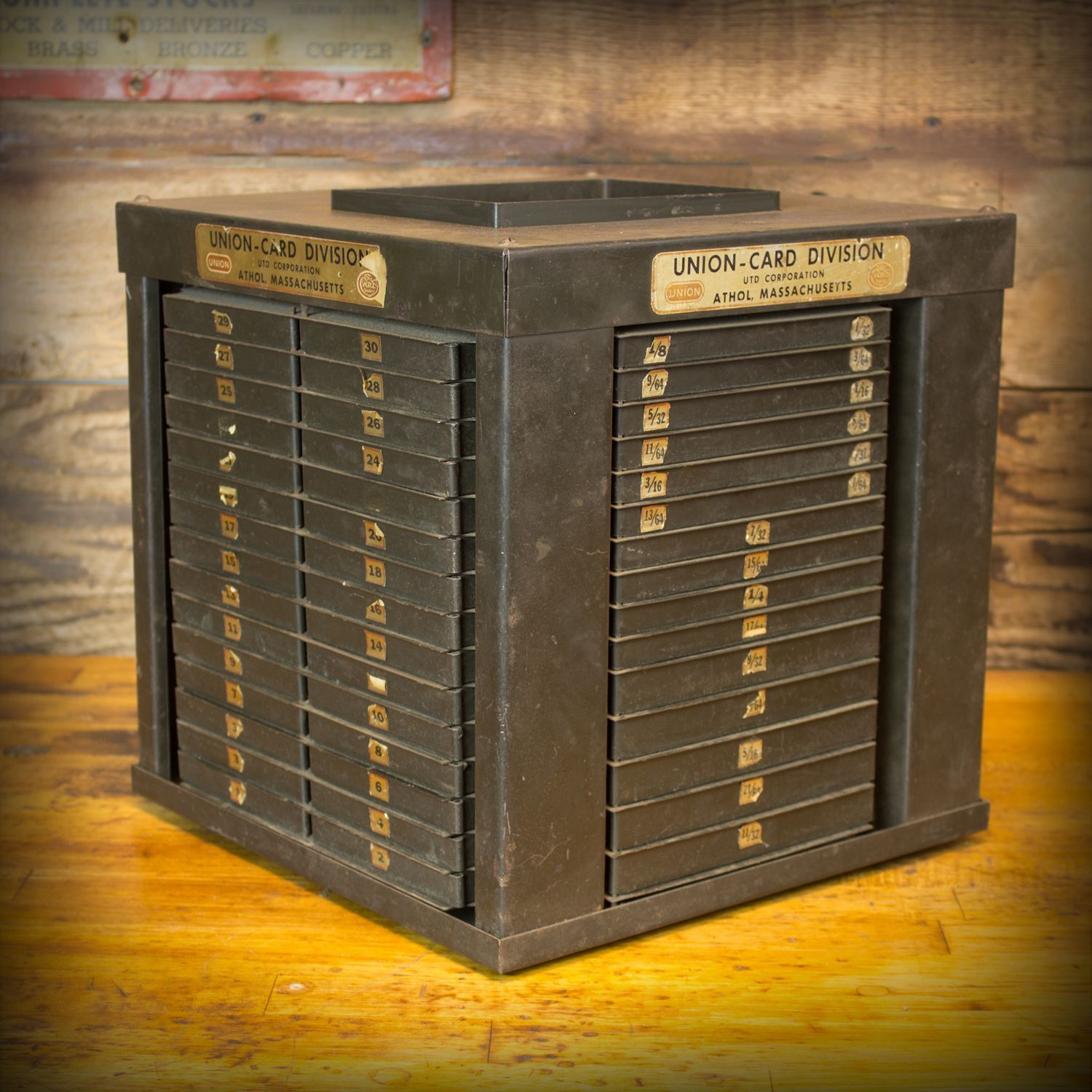 Rare Vintage Industrial Union Twist Drill Index Cabinet