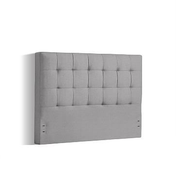 """Grid Tufted Headboard - 40"""", Queen, Heathered Crosshatch, Feather Gray"""