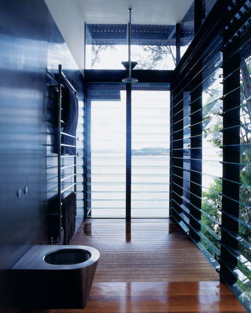 Lovely Jalousie windows in bathroom via Dwell Bathroom