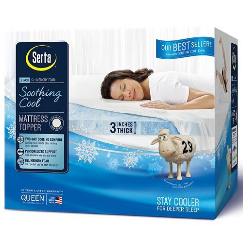 Serta 3 Inch Soothing Cool Gel Memory Foam Mattress Topper New