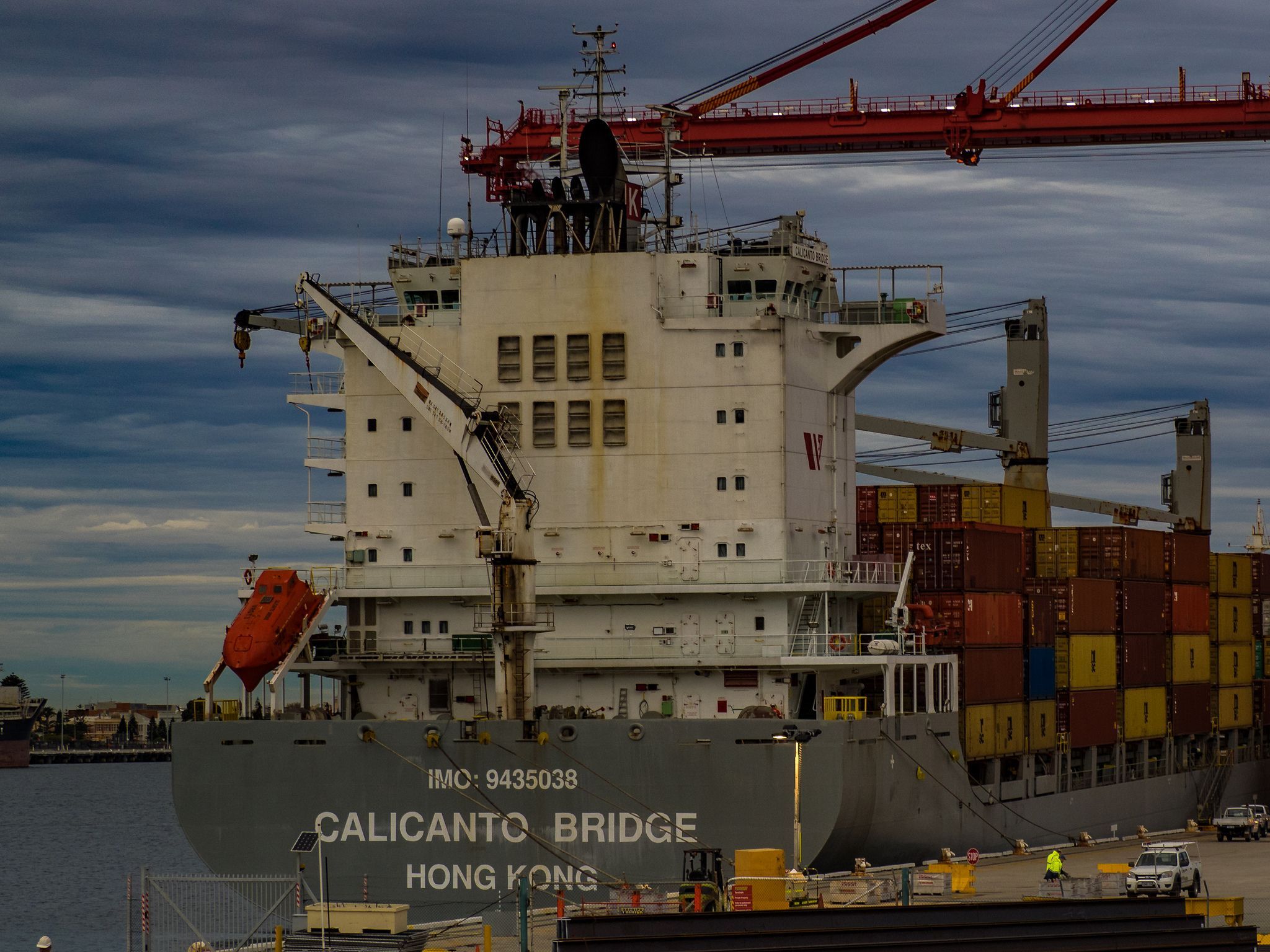 https://flic.kr/p/vbHvPp   Calicanto Bridge   The Chinese owned, Japanese managed container ship, Calicanto Bridge [IMO 9435038] alongside the Patrick Stevedores operated No. 10 NQ berth, Fremantle Port, Western Australia on July 2, 2015.  IMO number: 9435038 Name of ship: Calicanto Bridge Former names: None Call Sign: VRGT3 MMSI: 477748500 Gross Tonnage: 26,404 DWT: 34,195 Type of ship: Container Ship Built: 2010 Flag: Hong Kong, China Funnel Marks: Unknown Ship Manager: Kawasaki Kisen…