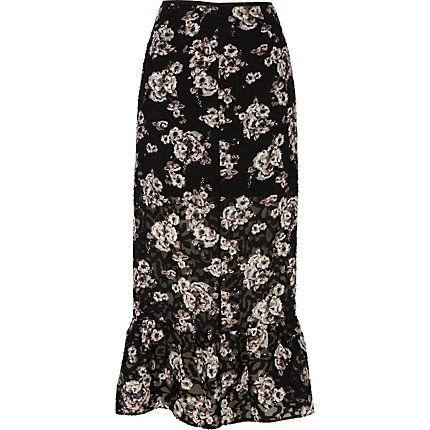 6b9c131359 Black floral print frill hem midi skirt $30.00 | Affordable Finds ...