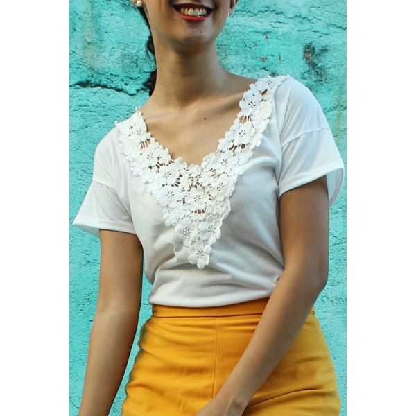 Sweet White V-Neck Lace Spliced Short Sleeve T-Shirt For Women — 6.88 € Size: XL Color: WHITE