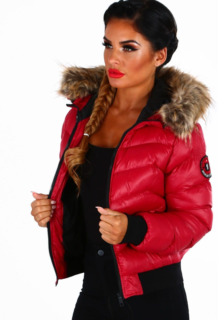 f41f34c866b9 Ice Bar Red Fur Trim Hooded Puffer Jacket - 8 | Blanket to go ...