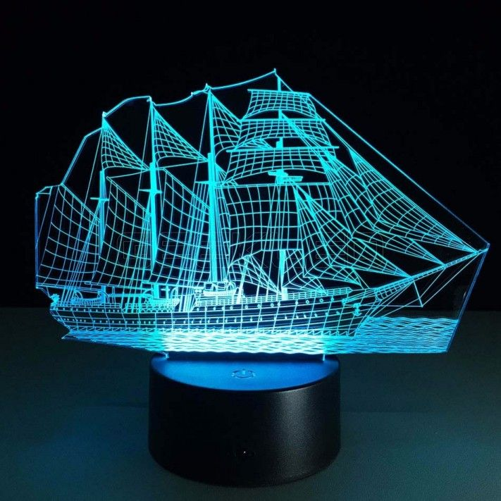 3d Optical Illusion Lamp Night Light Sailing Boat Luminaria De Ferro Luminarias Led Luminaria 3d