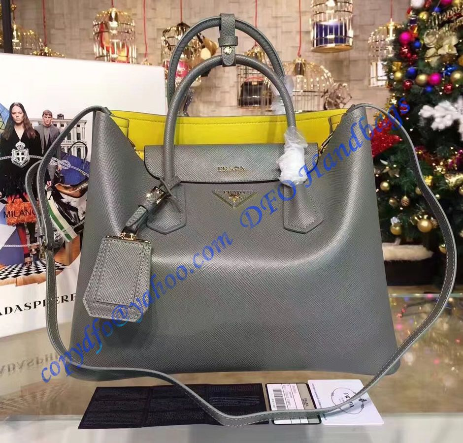 864b81e733 Prada Gray Saffiano Cuir Double Bag with Yellow Leather Lining in ...