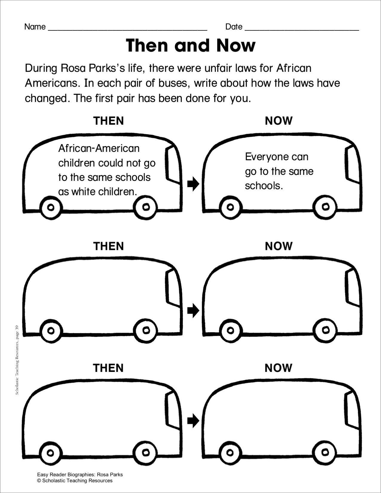 Rosa Parks Lesson Plan Worksheet Printables Proyectos Escolares Escolares Historia [ 1649 x 1275 Pixel ]