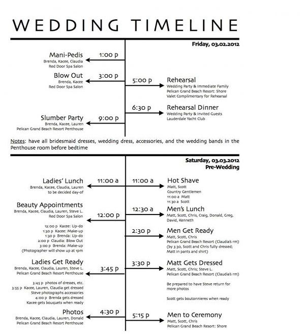 Ceremony And Reception Timeline: Free Wedding Day Timeline Printables