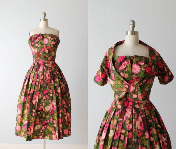 Vintage 1950s Dress / 50s Strapless Dress / Dress With