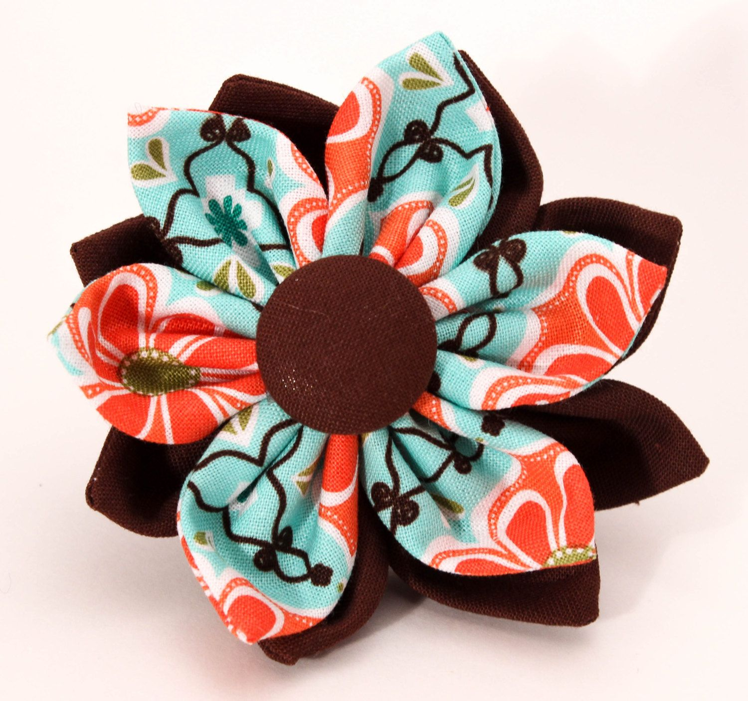 Dog collar fabric flower brown blue and salmon