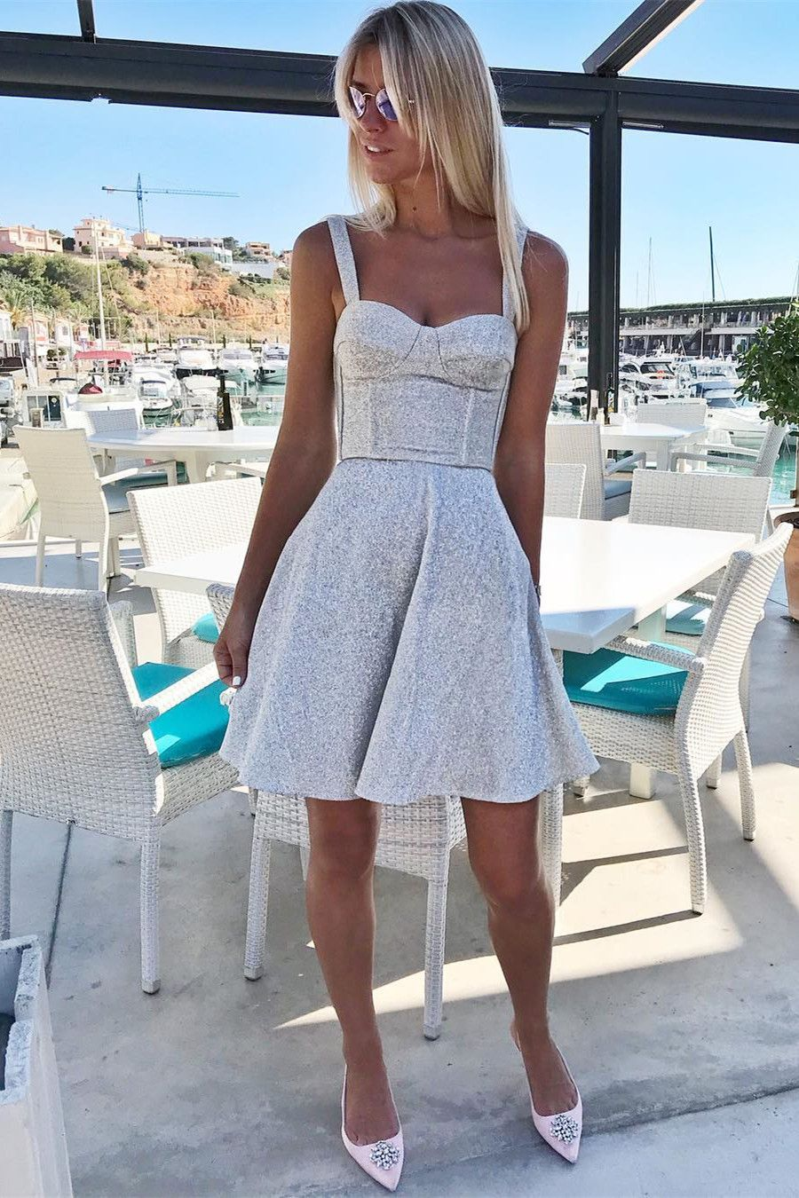 Semi formal dresses for wedding reception  ALine Straps Short Sleeveless Silver Homecoming Party Dresses