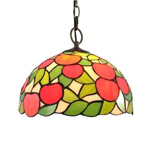 12inch European Pastoral Retro Style Pendant Light Red Apple Pattern Glass  Shade Bedroom Living Room Dining