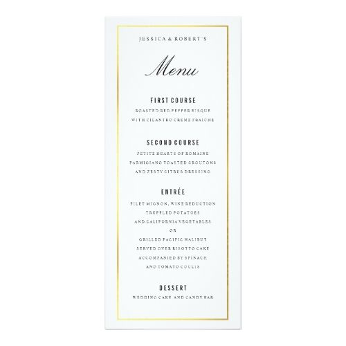 Gold Border Elegant Wedding Menu Card | Wedding menu cards, Menu ...